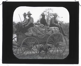 Finley and Bohlman on a wagon to Three Arch Rocks