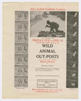 "Advertisement for ""Wild animal outposts"" lecture"