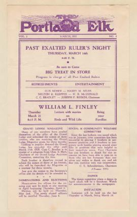 Advertisement for William Finley lecture