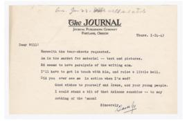 Letter to William Finley discussing interest in articles and photographs