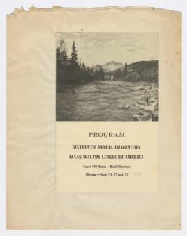 Program for 16th Annual Convention of Izaak Walton League