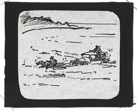 Cartoon of horses pulling an auto in  the surf