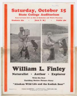 "Advertisement for ""Alaskan wild life and the Kodiak bear"" lecture"