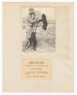"Images of William Finley and Dr. A. Hamilton Rice and ticket for ""More game birds"" meeting"
